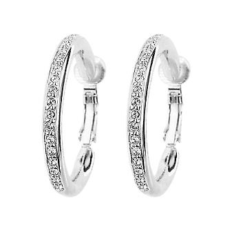 Traveller Clip Earrings - Hoops - Rhodium plated - 33mm - Crystals - 155836
