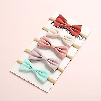6 pezzi / lotto Fiocchi per capelli Fascia in nylon Fasce per capelli in tessuto di lino