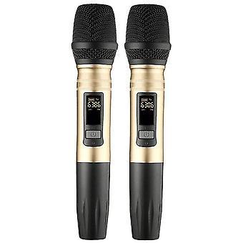 2Pcs/set ux2 uhf نظام ميكروفون لاسلكي محمول بقيادة مكبر الصوت ميكروفون uhf مع جهاز استقبال USB محمول لمكبر صوت ktv dj