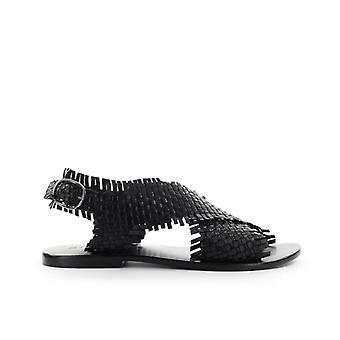 Strategia Black Braided Flat Sandal
