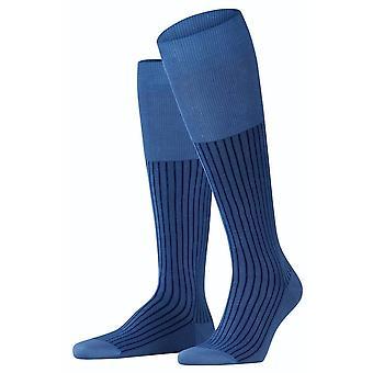 Falke Oxford Stripe Knee High Socks - Dusty Blue