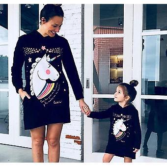 Roupas de mamãe, capuzes de inverno vestido mini vestido
