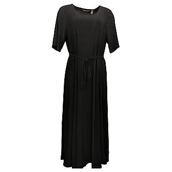 Nina Leonard Dress Reg Nicole Belted Midi Godet Detail Black 685869