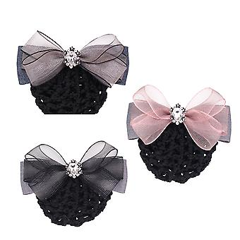 3st Office Work Hairpiece Ribbon Bowknot Net Bun Snood Satin Hair Band Hairpin