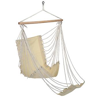 HI hanging chair with footrest beige cotton sailcloth