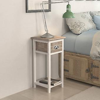 vidaXL nattbord med 1 skuff brun / hvit