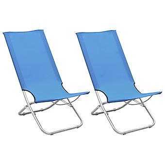 vidaXL Folding beach chairs 2 pcs. blue fabric