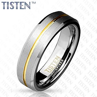 Tisten tungsten titanium matte finish with gold ip wedding band couples ring