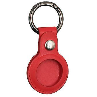 For Apple AirTag skinnveskedeksel for AirTags nøkkelringhylse skallhud, rød