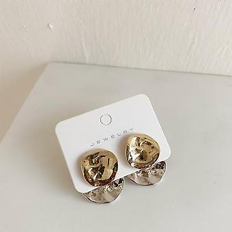 Fashion Gold Silver Color Metal Stud Earrings