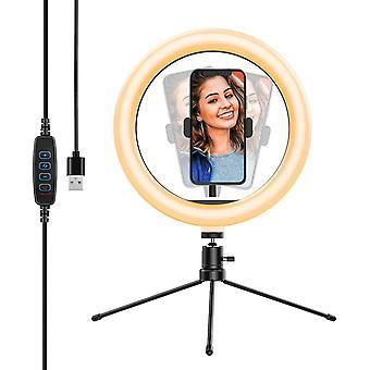 FengChun Selfie Ringleuchte Stativ, Tischringlicht mit 3 Farbe und 10 Helligkeitsstufen, Live Licht