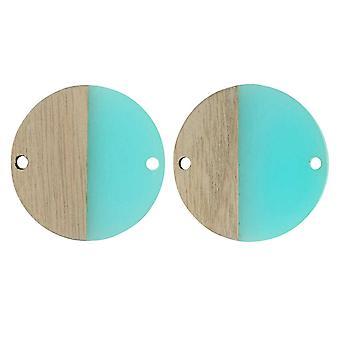 Venta Final - Zola Elements Wood &Resin Connector Link, Coin 28mm, 2 Piezas, Sea Green