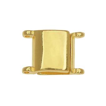 Cymbal magnetiske clasps for 11/0 Delica & Runde perler, Axos, Square 13x9.5mm, 1 stykke, 24K Gullbelagt