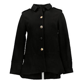 LOGO by Lori Goldstein Women's Coat Reg Double Knit Black A369087