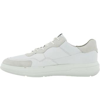 ECCO Mens Soft X Leather Casual Lace Up Trainers Sneakers Shoes - Shadow White
