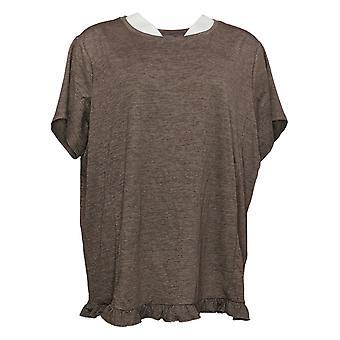 Enhver Kvinders Top Crinkle Strik T-shirt med flæse Hem Brown A353784