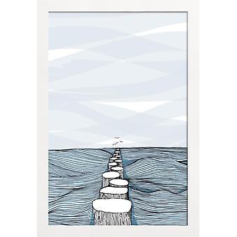 JUNIQE Print - Noget roligt - Oceaner, Have og Søer Plakat i Blå &Grå