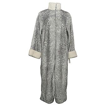 Carole Hochman Women's Printed Plush Sherpa Trimmed Zip Robe Gray A433815
