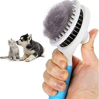 Blue cat brush self-cleaning plucking removes pet long hair setable dt5885