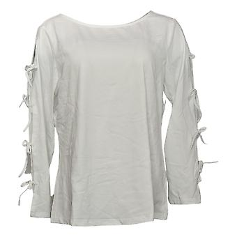 Mujer con control De mujer Top Knit Bow Sleeve Detalle Blanco A306466