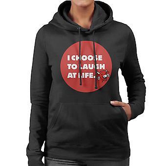Den grinende ko jeg vælger at grine af livet Kvinders Hætteklædte Sweatshirt