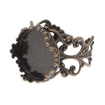 Antiqued Brass Filigree Regulowany pierścień z okrągłą ramką 15mm (1)