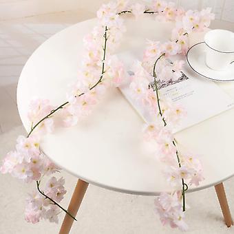 Konstgjorda silkeblommor Körsbärsblomma Garland Hängande vinstock för bröllop hem trädgårdsdekoration 2 pack (rosa)