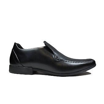 Clarks Glement Seam Black Leather Mens Slip On Shoes