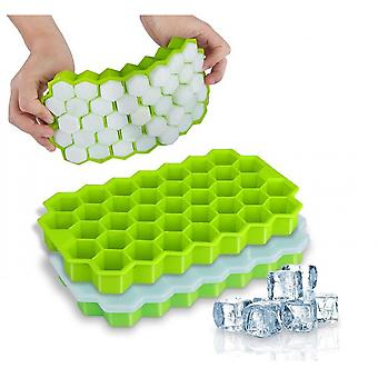 2 Pack Silicone Ice Cube Molds With Lid Flexible Ice Trays Bpa Free