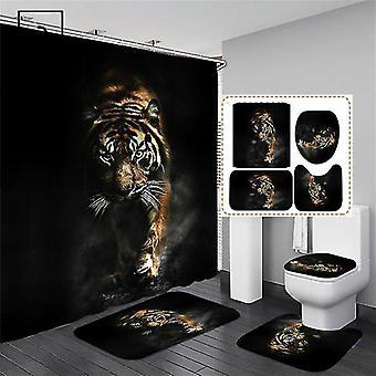 4-teiliges Set gedruckt Dusche Vorhang Set Badezimmer Baden Sieauch Anti Rutsch Toilettendeckel (180 * 180CM)