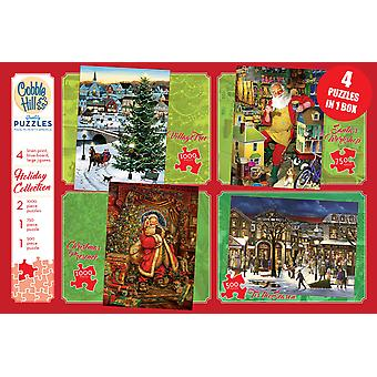 Cobble hill - 4 pack holiday collection puzzles - cobble hill - pack de 4 puzzles de la collection des fÊtes