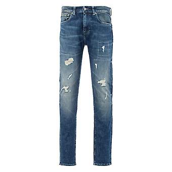 Edwin ED-80 Slim Tapered Jeans - Kiyo Repair Wash Yuuki Blue Denim