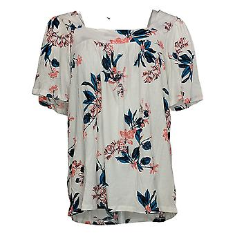 Lucky Brand Women's Top Ladies' Print Square Neck Short Sleeve Knit White