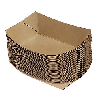 Toyvian 50pcs Форма корабля Вынести контейнеры Easy Fold Box Kraft Paper Box Lunch Salad Carton For Party