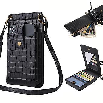 Frauen Krokodil Muster Telefon Geldbörse Karte Halter Brieftasche Crossbody Tasche