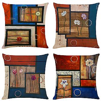 Mile Cushion Coversthrow Pillow Cover For Living Room Sofa Couch Bed Pillowcases Invisible Zipper 18'' X 18' Set Of 4