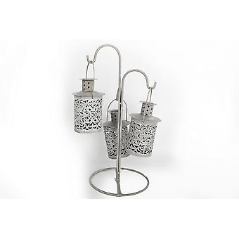 3PC METAL LACE HANGING TEALIGHT LANTERNS WITH STAND 33CM