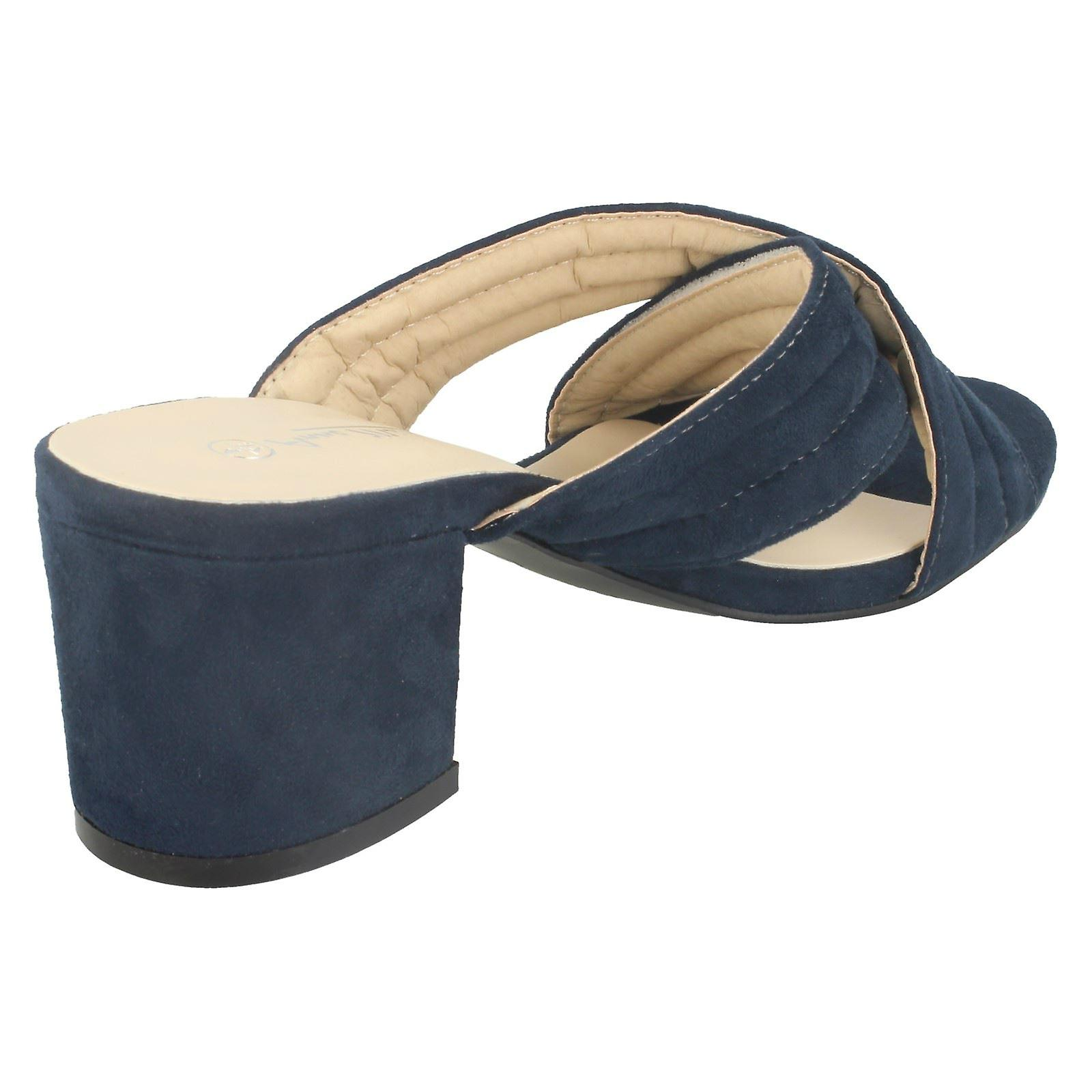 Ladies Anne Michelle Mid Heel X Strap Vamp Mule Sandals F10728