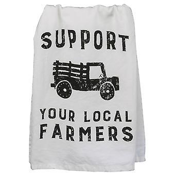 Soutenez vos fermiers locaux blancs avec la serviette de cuisine en coton imprimé noir