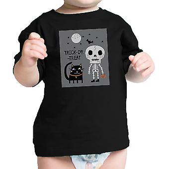 هيكل عظمى القطة السوداء القميص الرسم الرضع الرضيع هالوين أزياء