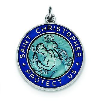 925 στερλίνα ασημένια στερεά χαράζεται (πίσω μόνο) σμάλτο St. Christopher μετάλλιο γοητεία κρεμαστό κόσμημα κολιέ κοσμήματα για