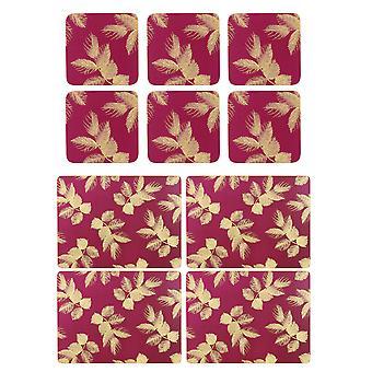 Sara Miller etset blader rosa Placemats og Coasters sett
