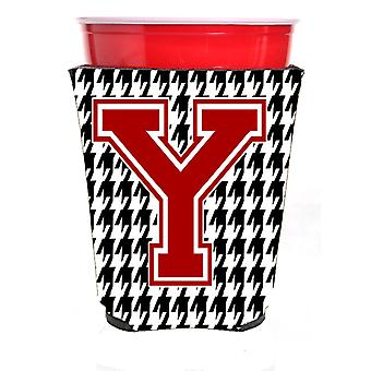 Monogram - Houndstooth  Initial  Y Red Solo Cup Beverage Insulator Hugger