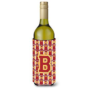 Brief B voetbal kardinaal en goud wijnfles drank isolator Hugger