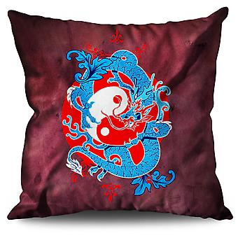 Mystic Fantasy Yin Yang Linen Cushion 30cm x 30cm | Wellcoda