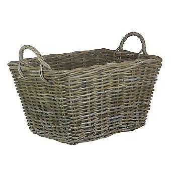 Large Rectangular Grey Rattan Floor Storage Basket