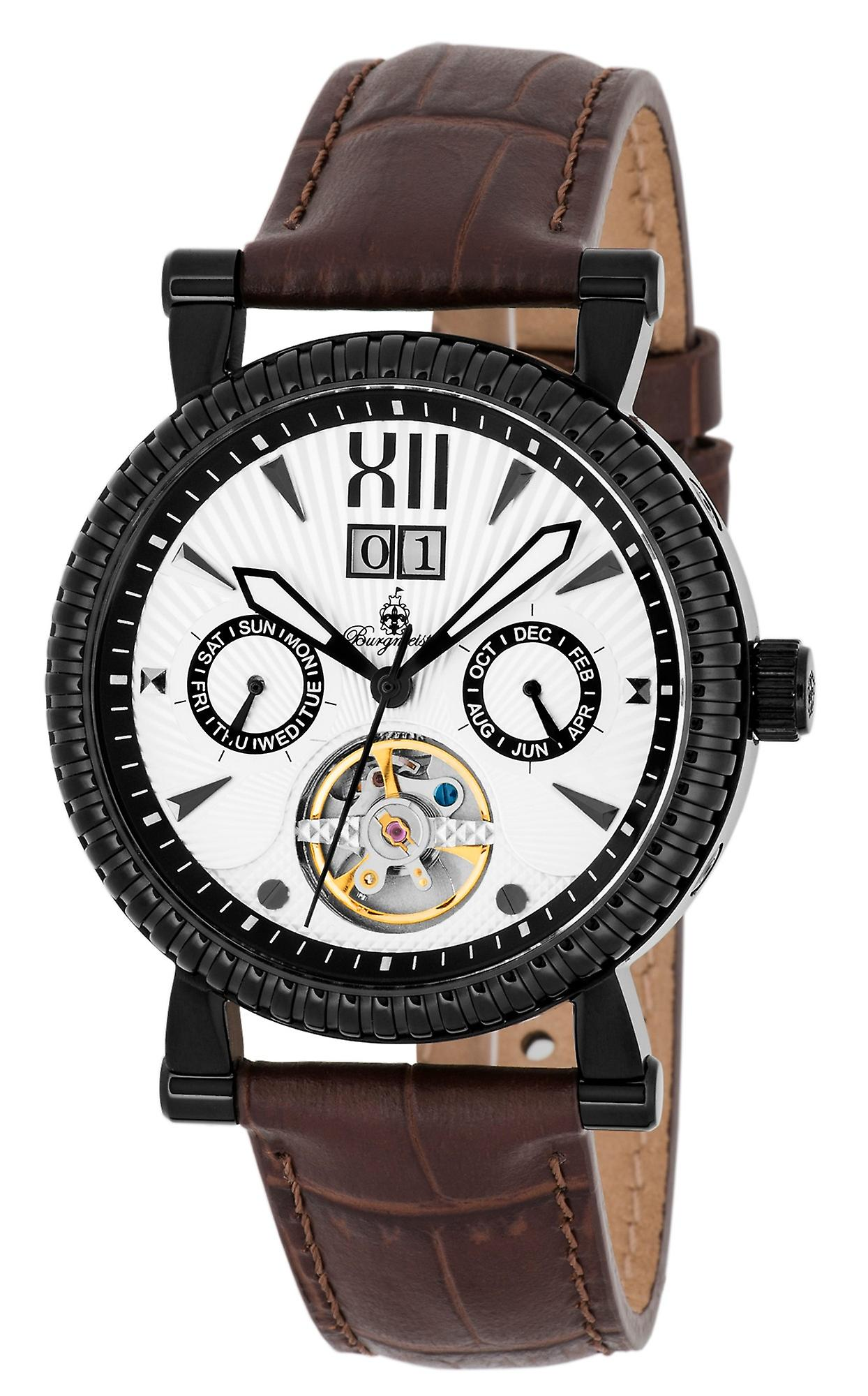 Burgmeister BM347-615 Stamford, Gents automatic watch, Analogue display - Water resistant, Stylish leather strap, Classic men's watch