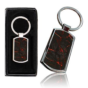 i-Tronixs - Premium Marble Design Chrome Metal Keyring with Free Gift Box (1-Pack) - 0058
