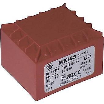 Weiss Elektrotechnik 85/352 PCB mount transformer 1 x 230 V 1 x 12 V AC 3.20 VA 267 mA