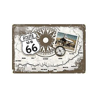 Route 66 kompas/Mapa tłoczone metalowe znak